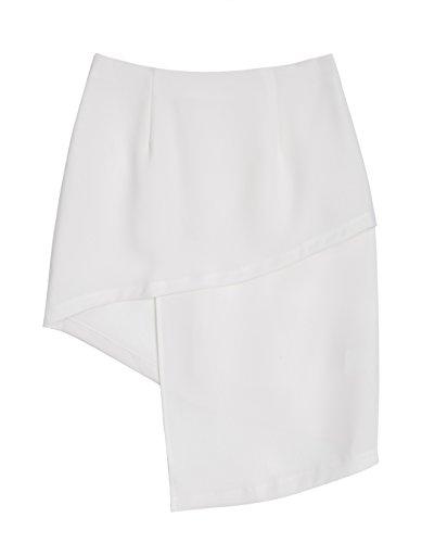 ZEARO Damen Das langärmelige Rock Kleid Kleider Feste dünne Hüfte-Paket Side Beiläufige Asymmetrischem Weiß