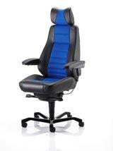 24/7Kab Controller Stuhl in schwarz Leder mit einer Auswahl von Xtreme Gewebe-Einsätze Storm Charcoal (Unterstützung Sitzgelegenheiten)
