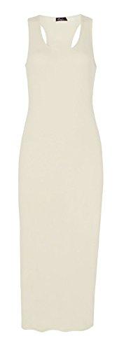 Fast Fashion - Robe Sans Manches Racer Dos Uni Midi Musculaires - Femmes Crème