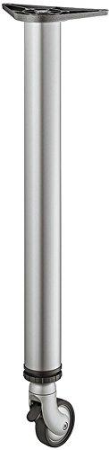 Möbelfuß mit Laufrollen silber RAL 9006 Tischbein höhen-verstellbar +25 mm Tischfuß rund Metall - Modell H1877 | Höhe: 710 mm | Tragkraft bis 35 kg | GedoTec® powered by HÄFELE