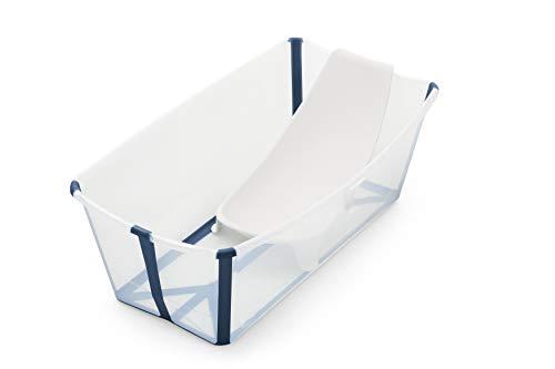 Stokke Flexi Bath Bundle - Kombination aus faltbarer Badewanne für Babys, Kleinkinder & Kinder & einem Newborn Support - Farbe: Transparent Blue