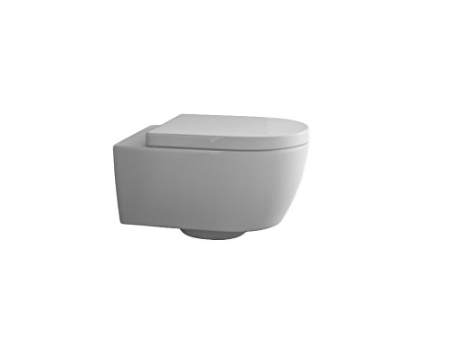 Design Hänge WC Spülrandlos Toilette inkl. WC Sitz mit Softclose Absenkautomatik + abnehmbar kurz - 5