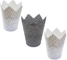 IKEA SKURAR - 3er Set Kerzenhalter, weiß - 11 cm 2 x weiss 1 x grau