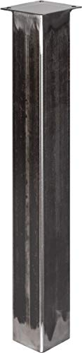 HOLZBRINK Tischbein Eckig, Vierkantprofil 80x80 mm, Höhe 72 cm, Rohstahl mit Klarlack, 1 Stück, HLT-14B-J-72-0000