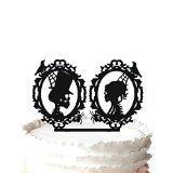 Kaishihui Silhouette Skeleton Cameo Wedding Cake Topper