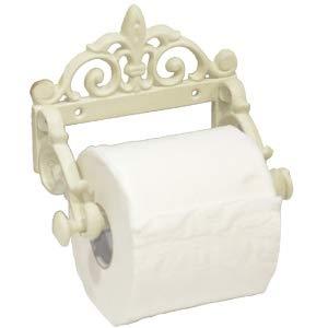 Toilettenpapierhalter Klopapier Landhaus Vintage Gusseisen lackiert 8 cm hoch 15 cm breit weiß