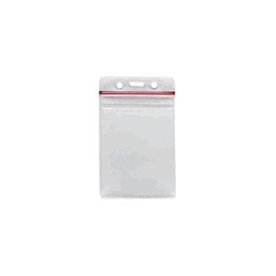 badgeDesigner Wiederverschließbare Vertical Badge Holder - Clear Vinyl Photo ID-Karten-Tasche mit Top Red Zip - Für Sicherheit Abzeichen & Umbauten - Hält jeweils 2 Karten 10 Stück - Rot Vinyl Zipper