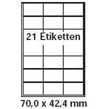 pripa Etikettenformat 70 x 42,2 mm , 50 Blatt DIN A4 selbstklebende Etiketten