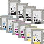 Set de 10 Haute Capacité 100% Compatible cartouches d'encre pour HP 940XL Multipack OfficeJet Pro 8000 8000A All-in-One Wireless 8500 8500A Compatibles avec HP 940 xl C4906AE C4907AE C4908AE C4909AE (4 Noir+2 Cyan+2 Magenta+2 Jaune) (940XLSet Twin Plus 2 Noir)