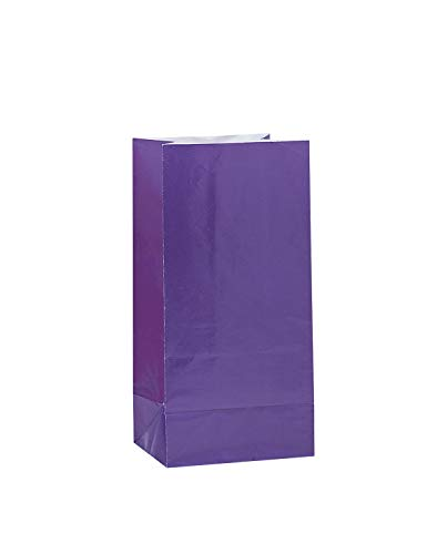 Unique Party- Paquete de 12 bolsas de regalo de papel, Color morado oscuro, 30 (59006)