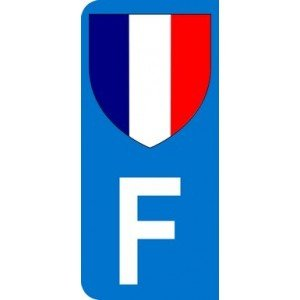 Autocollant avec blason français et lettre F partie gauche plaque immatriculation Moto (6,3 x 2,9 cm)