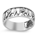 Elephant Migration Eternity Ring Sterling Silver 925 (Sizes H-T 1/2)