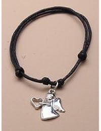 Crystal Innovation 2144 filaire Noir bracelet réglable avec charm ange gardien