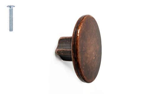 Möbelknopf, rund, poliertes Nickel, matt, Roségold, Antikmessing, Kupfer, 40 mm, für Küchenschrank, Schrank, Schublade, Schwarz - 40 mm - Antique Copper -
