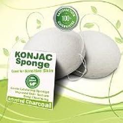 Gaia Konjac Eponge Naturel Bambu de Visage Nettoyage - Parfaitement doux sur la peau de bébé - Paquet de 2 - blanc