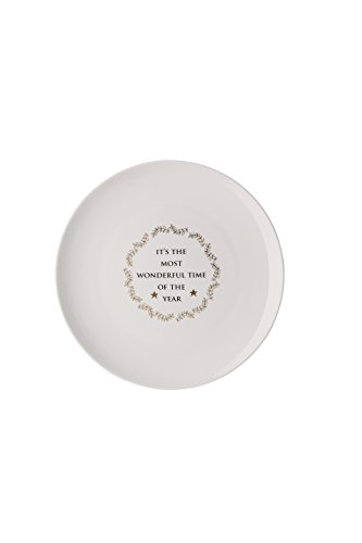 Hutschenreuther Merry Christmas Shiny Assiette plate, Porcelaine, or, 22 x 23 x 3 cm