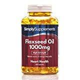 Aceite de Linaza 1000mg - 360 cápsulas - Hasta 1 año de suministro - Una alternativa al aceite de pescado para el Omega 3 - SimplySupplements