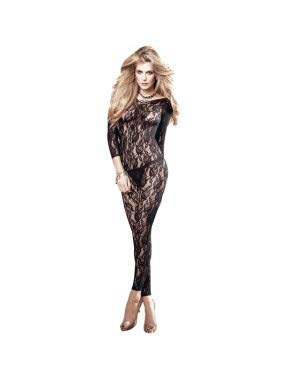 Baci Women's After Dark Long Sleve All Over Lace Body Stocking, Black, One Size - Lace Footless Bodystocking