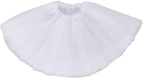 Ruiuzi Damen Tütü Rock Minirock 4 Lagen Petticoat Tanzkleid Dehnbaren Mini Skater Tutu Rock Erwachsene Ballettrock Tüllrock für Party Halloween Kostüme Tanzen (Weiß) (Klassische Weiß Clown Kostüm)