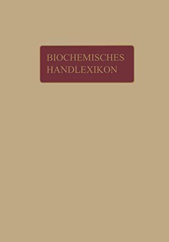 Biochemisches Handlexikon: Fette, Wachse, Phosphatide, Protagon, Cerebroside, Sterine, Gallensäuren