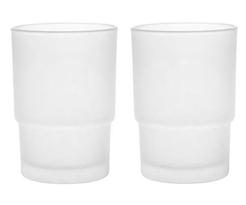 Livpow Zahnputzbecher Glas Ersatz Satiniertem Glas Packung Von 2 MEHRWEG - Glas-zahnputzbecher