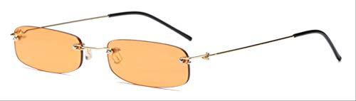 MJDL Schmale Sonnenbrille Männer Randlos Sommer 2018 Rot Blau Schwarz Rechteckige Sonnenbrille Für Frauen Kleines Gesicht Heißer Verkauf Klar Orange