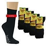 12 Paar superweiche Bambus Socken für Sie und Ihn - Optimaler Tragekomfort - Kein drückendes Gummi - Ideal für Business, Sport und Freizeit (Schwarz, 35-38) ...