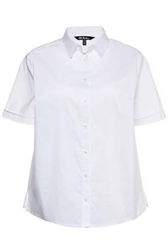 Ulla Popken Damen große Größen bis 60 | Kurzarm Bluse, Business Shirt | Halbarm Oberteil mit Knopfleiste | Hemdkragen & Seitenschlitze | weiß 54 714169 20-54