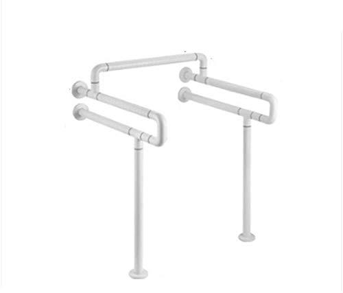 XHCP Fushou Rutschfester Griff Badezimmer-Handlauf Edelstahl rutschfeste Sicherheits-Toilette Toilette Einteiliger Einhand-Badezimmer-behinderter älterer Handlauf (Farbe: Weiß, Größe: 75 cm)