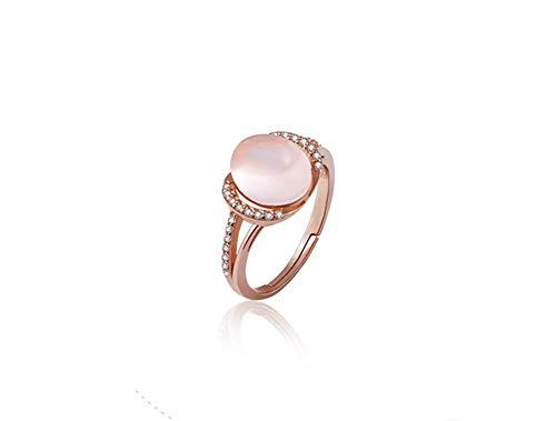 ZXH Die Neue Amazon natürlichen rosa Kristall-Ring S925 Silber Roségold natürliche Rosenquarz Öffnung Zeigefinger Ring Mode Frau Ring plattiert