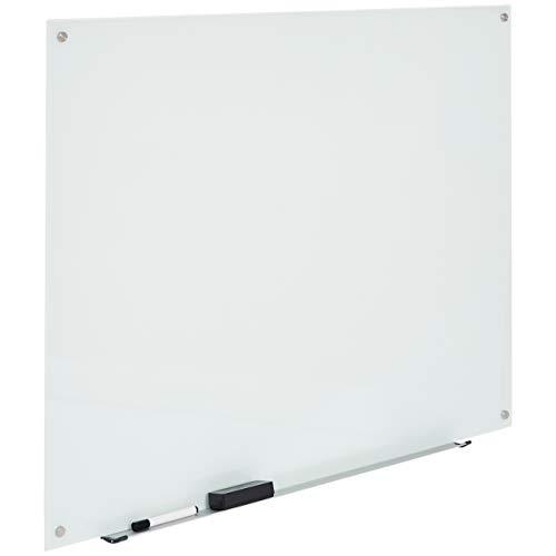 AmazonBasics - Pizarra de borrado en seco de vidrio - Blanca, magnética, 120 x 90 cm