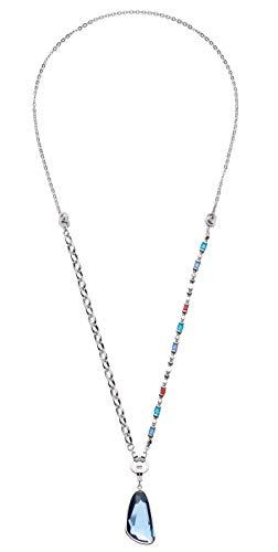 JEWELS BY LEONARDO DARLIN'S Damen-Set-Halskette Sorrento, Edelstahl mit Hematit-Perlen, Anhänger mit blauem Glasstein, CLIP & MIX System, Länge 800 mm