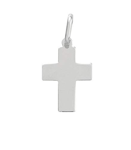 Gioielli di Valenza Ciondolo Croce Rettangolare in Oro Bianco 18kt