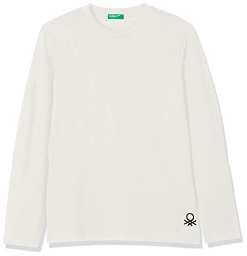 United Colors of Benetton Jungen T-Shirt L/S, Weiß (Off White 074), 90 (Herstellergröße: 2y)