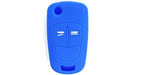 [portachiave] guscio cover chiave in silicone per telecomando auto opel a 2 tasti (vedere compatibilità nelle foto) antara astra corsa meriva tigra vectra zafira (blu)