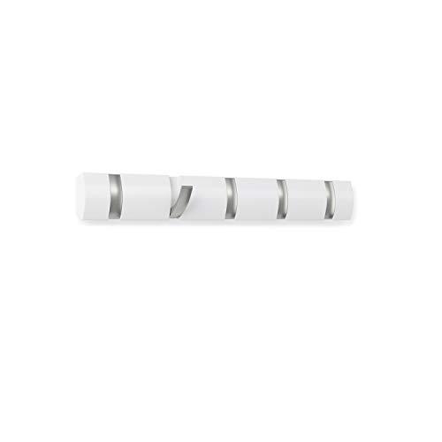Umbra Flip 5 Garderobenhaken - Moderne, Schlichte und Platzsparende Garderobenleiste mit 5 Beweglichen Haken für Jacken, Mäntel, Schals, Handtaschen und Mehr, Hochglanz Weiß