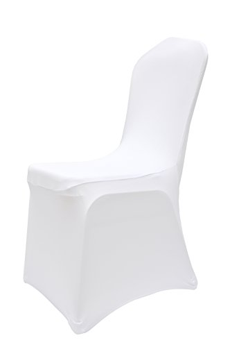massG White Chair Covers Spandex/Lycra Wedding Banquet Party Anniversary Dining Elasticated Flat & Arched Front