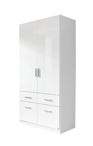 Rauch   Drehtürenschrank Celle - 2-türiger Kleiderschrank mit 4 Schubladen - Front in Weiß Hochglanz und Korpus in Weiß - 91 x 197 x 54 cm