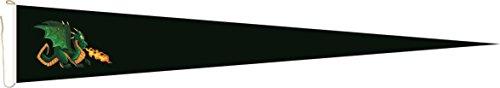 U24 Long Fanion Feu spucke thermique Dragon Noir Drapeau fanion 250 x 40 cm haute qualité pour