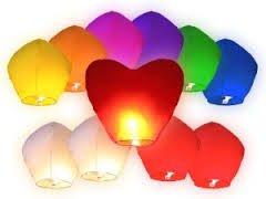 12 farolillos, Lámparas chinas voladoras, con diseño de corazón rojo, para boda, 90 x 90 cm - Colores Mixtos