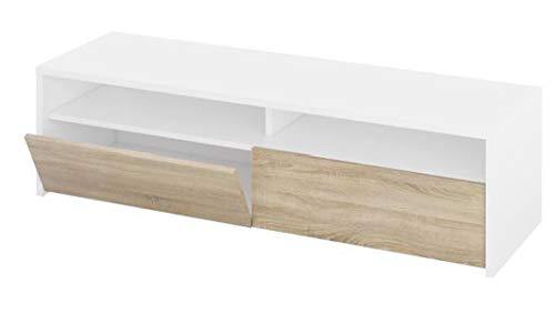 PEGANE Meuble TV décor Blanc et chêne - Dim : L 130 x P 42 x H 36 cm