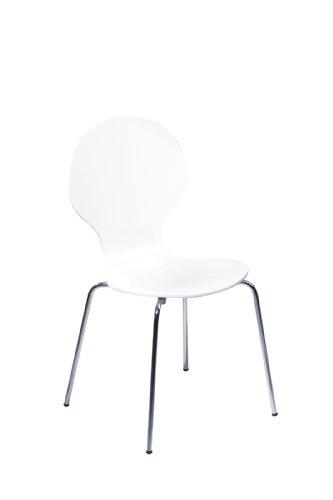 Links 30200610 Küchenstuhl Esszimmerstuhl Stuhl Set 4 Teilig Esszimmerstühle  4 Stühle Weiß NEU