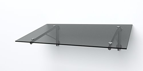 Glas Vordach Haustür Edelstahl EGD 1,8 x 1,1m x 14mm VSG (grau)
