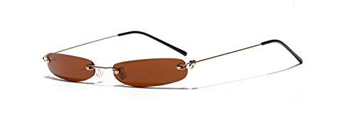 MJDABAOFA Sonnenbrillen,Mode Schmale Rechteckige Sonnenbrille Braun Frauen Winzige Randlose Sonnenbrille Für Männer Rahmenlose Sonnenbrille