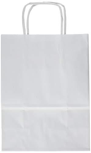 Rex Sadoch SDS16BIA Borse in carta con manico ritorto, confezione con 25 pezzi, Bianco