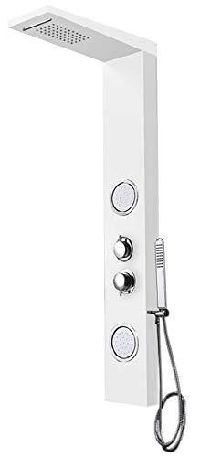 Thermostat Aluminium Duschpaneel Duschsäule Massage Wasserfall Regenschauer Weiß Weiss Sanlingo