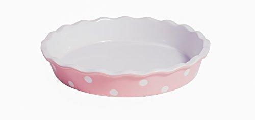 Isabelle Rose - IR5523 - Tarte / Quiche Form - Keramik - rosa mit weißen Punkten