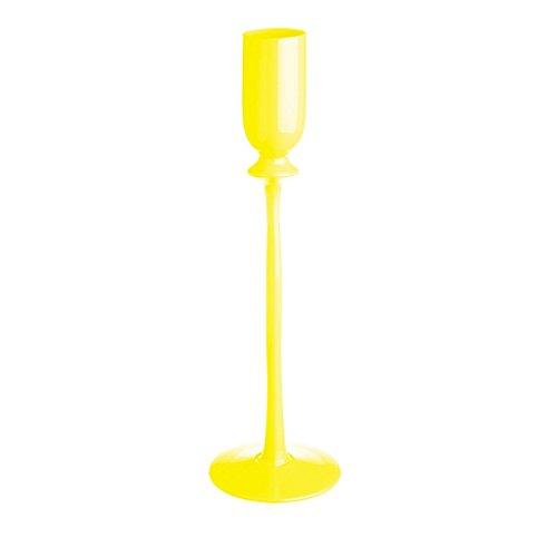 CRISTALICA Bougeoir photophore décoration de Table décoration 25cm Verre Jaune