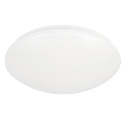 MiniSun Plafonnier Applique Hublot LED avec Photo-capteur de Crépuscule à l'aube Intégré. Rond en Blanc avec Diffuseur Opaline / Blanc. Ampoules LED intégré - 18 watt LED 6500K