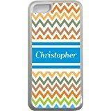 Coque pour iPhone 5C Motif Christopher Chevron Bleu Nom (Transparent) avec protection pare-chocs en caoutchouc pour Apple iPhone 5C Étui vendre sur zeng